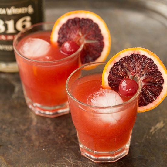 Blood Orange Whiskey Sours