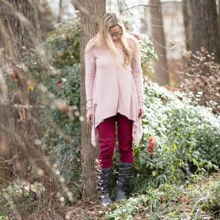 Pink Mossimo Sweater, red jeans, gray boots