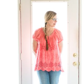 Belle France Coral Peasant Top | Fashion Over 50